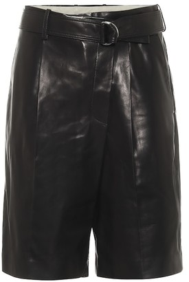 Helmut Lang High-rise leather Bermuda shorts