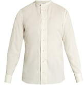 Alexander McQueen Collarless silk shirt