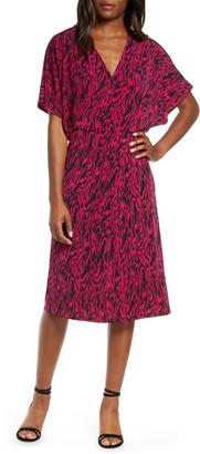 Leota Ruby Zebra Print Short Sleeve Jersey Dress
