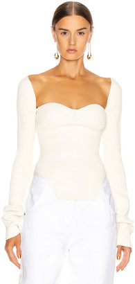 KHAITE Maddy Long Bustier Top in Cream | FWRD