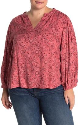 ALL IN FAVOR Blouson Sleeve Split Neck Top (Plus Size)