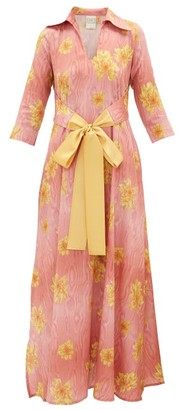 La Costa Del Algodón La Costa Del Algodon - Marais Collared Cotton-muslin Kaftan - Womens - Pink Print