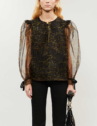 Topshop Puffed-sleeve leopard-print organza blouse