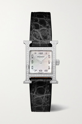 HERMÈS TIMEPIECES Heure H 17.2mm Very Small Stainless Steel, Alligator, Mother-of-pearl And Diamond Watch - Black