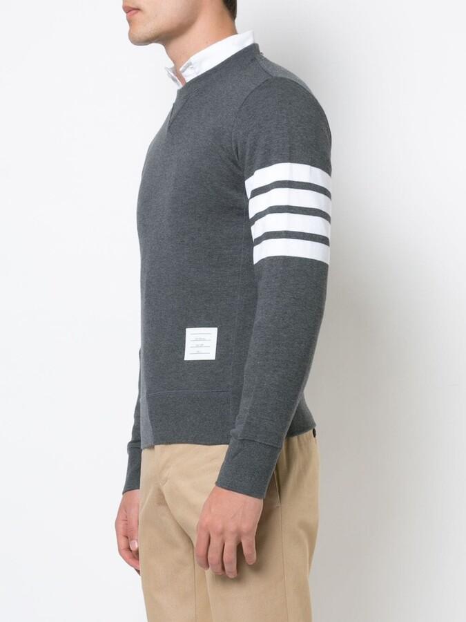 Thom Browne Pullover Sweatshirt With Engineered 4-Bar Stripe