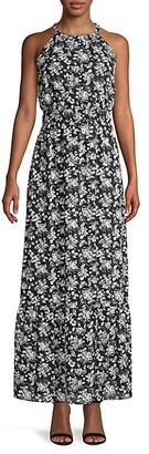 Saks Fifth Avenue Dobby Floral Blouson Maxi Dress