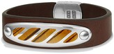 David Yurman Graphic Cable Leather ID Bracelet in Brown with Tiger's Eye