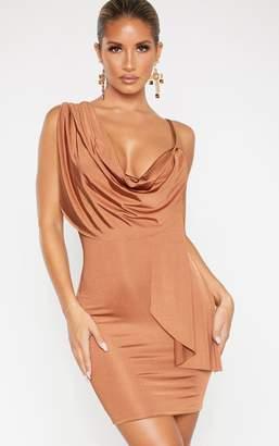 PrettyLittleThing Mocha Metallic Slinky Drape Front Bodycon Dress