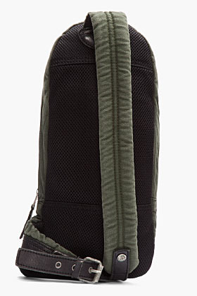 Diesel Olive green and black cross-body backpack