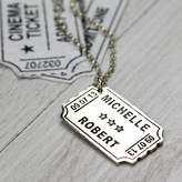 Nicola Crawford Personalised Silver Cinema Ticket Pendant