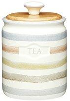 Kitchen Craft Classic Collection Striped Ceramic Tea Caddy, 800 ml (28 fl oz) - Cream