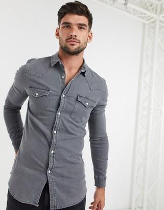 ASOS DESIGN skinny fit western organic denim shirt in grey