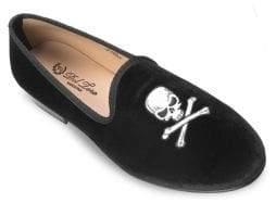 Del Toro Velvet Skull & Bone Loafers