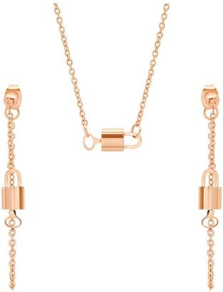 Steel By Design Steel by Design Lock & Key Necklace and Earrings Set