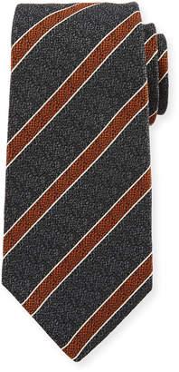 Kiton Textured Medium Stripe Silk Tie, Gray