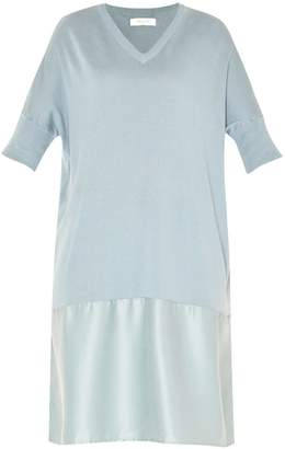 Paisie Relaxed Fit Knitted V-Neck Dress With Silk Panel In Teal