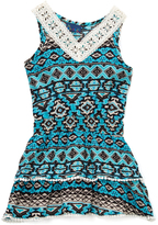 Sweet & Soft Blue Geometric Drop-Waist Dress - Infant Toddler & Girls