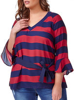 Addition Elle Love And Legend V-Neck Bell Sleeved Striped Top