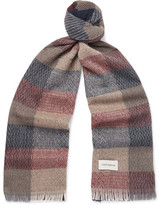 Oliver Spencer Kirkstall Checked Knitted Scarf - Red