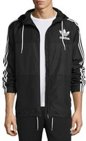 adidas Logo Striped Wind-Resistant Track Jacket, Black