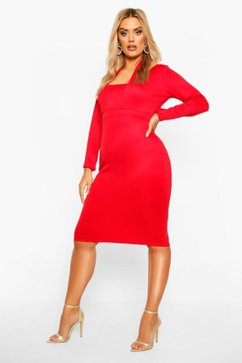 boohoo Plus Plunge High Collar Midi Dress