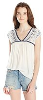 Jolt Women's Rayon Dobbie Top with Embroidered Lace Sleeves and Ethnic Ribbon