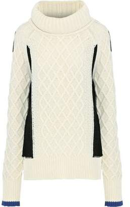 Preen Line Ellise Paneled Cable-knit Wool-blend Turtleneck Sweater