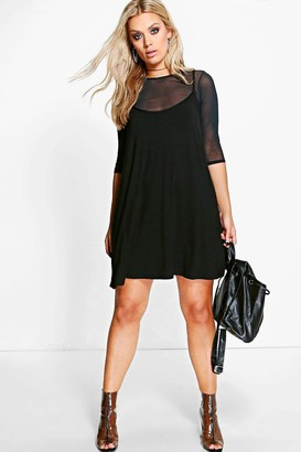 boohoo Plus Mesh 2 In 1 Cami Dress
