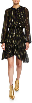 A.L.C. Sidney Metallic Long-Sleeve Flounce Dress