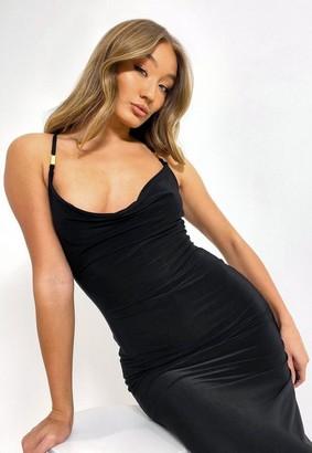 Missguided Black Buckle Strap Cowl Slinky Maxi Dress