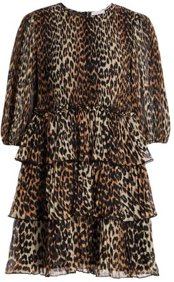 Ganni Pleated Georgette Leopard Ruffle Babydoll Dress