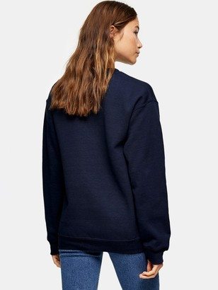 Topshop Mini Alaska Embroidered Sweat - Blue