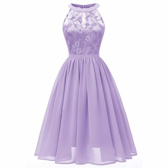 Moent Women Wedding Princess Dress Women's Round Neck Floral Lace Cocktail Neckline Party Aline Sleeveless Bridesmaid Vintage Swing Dresses(Purple-XXL)