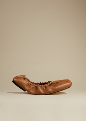 KHAITE The Ashland Ballet Flat in Caramel Leather