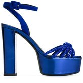 Giuseppe Zanotti Design knot platform sandals - women - Leather/Suede/glass - 36