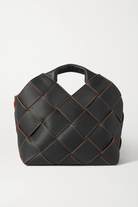 Loewe Woven Textured-leather Tote - Black