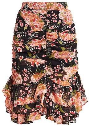 By Ti Mo Chiffon Floral Ruched Skirt