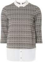 Dorothy Perkins Womens Petite Grey Checked 2-In-1 Top