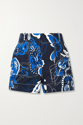 By Malene Birger Gaugler Floral-print Cotton-blend Twill Shorts - Blue