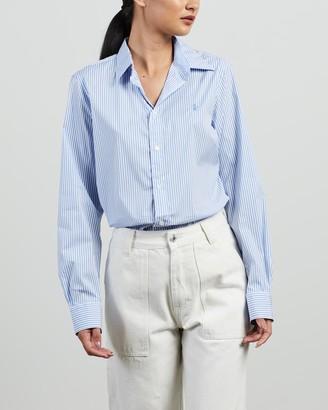 Polo Ralph Lauren Women's Blue Shirts & Blouses - Georgia Slim Long Sleeve Shirt - Size 10 at The Iconic