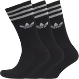 adidas Trefoil Three Pack Solid Crew Socks Black/White