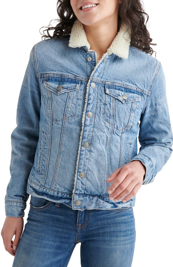Lucky Brand Tomboy Faux Shearling Lined Trucker Jacket