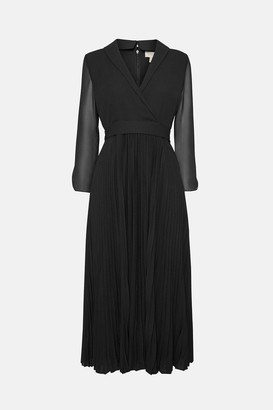 Coast Long Sleeved Drape Detail Knee Length Dress