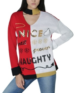 Ultra Flirt Juniors' Nice-Naughty-Graphic Choker Sweater