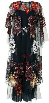 Biyan Floral Applique Mesh Layered Dress