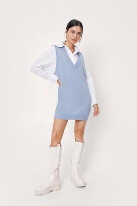Nasty Gal Womens V Back Soon Knitted Mini Dress - Blue