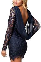Lettre d'amour Women's Elegant Lace Sheer Backless Bodycon Dress Cocktail Dress S