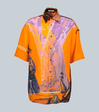 Valentino Yellow City silk short-sleeved shirt