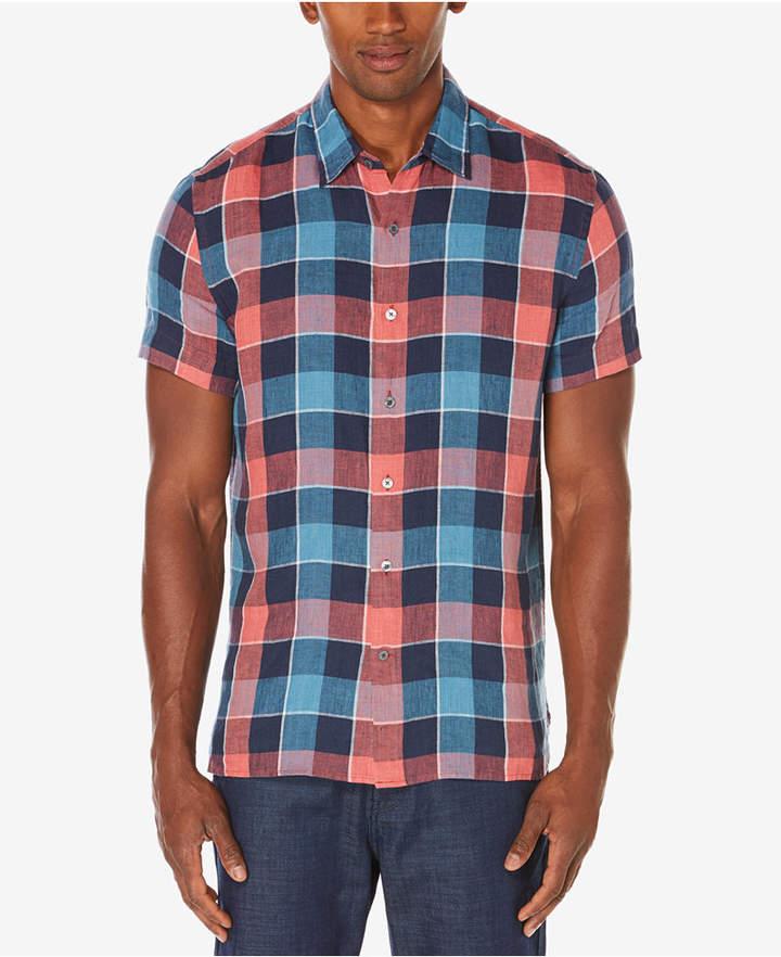 Perry Ellis Men's Plaid Linen Shirt