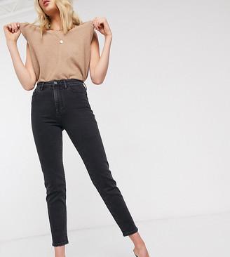 Stradivarius Tall slim mom jean with stretch in black